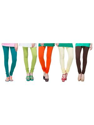 Tsg Bliss C6 Multicolored Women Leggings Set Of 5