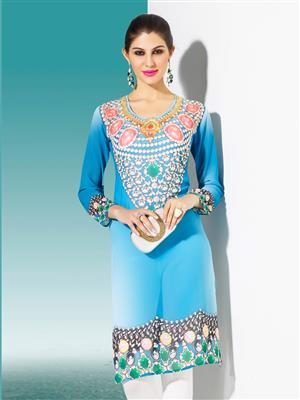 Top Dot Td-Dp-07 Blue Women Digital Kurti