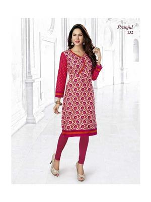 Urvi Creation UC2 Pink Floral Printed Design Womens Kurti Fabric