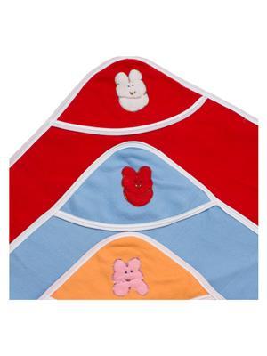UTC GARMENTS UTC0305 Multicolored Hooded Baby Blanket Combo Pack