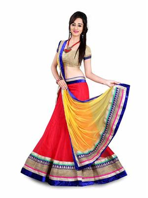 KIAN V-RCHSH-RD Multi Color Net Women Lahengha Choli