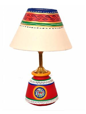 VarEesha Vacl004 Red, Cream Terracotta Lamp, Fabric Shade