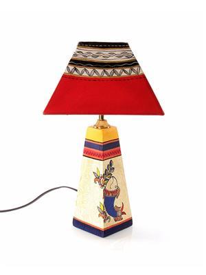 VarEesha Vacl010 Multicolored Wooden Lamp, Fabric Shade