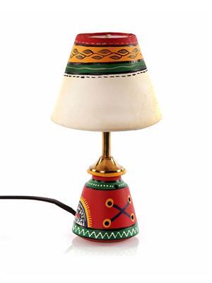 VarEesha Vacl012 Red, Cream Terracotta Lamp, Fabric Shade