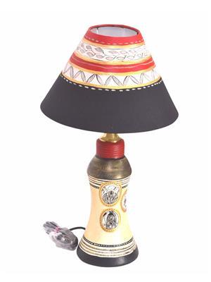 VarEesha Vacl018 Gold, Black Terracotta Lamp, Fabric Shade