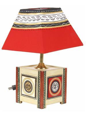 VarEesha Vacl022 Gold, Red Wooden Lamp Base, Fabric Shade