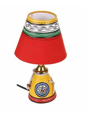 VarEesha Vacl024 Yellow, Red Terracotta Lamp, Fabric Shade