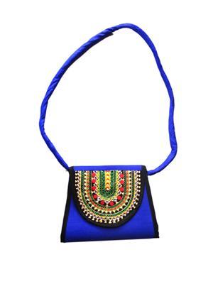 V Brown Vbkhbhw6001 Blue Potli Bag