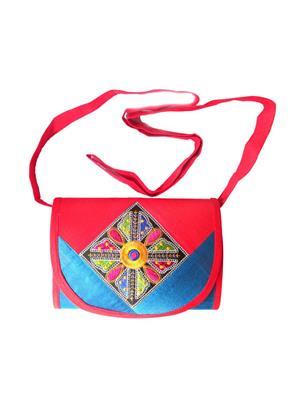 V Brown Vbkhbshb7001 Blue-Red Potli Bag