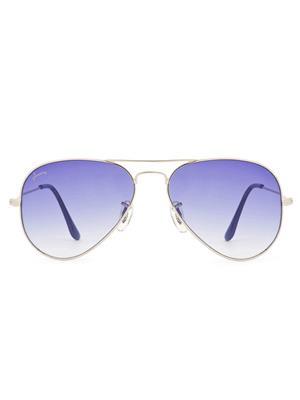 Velocity VC3025SILGRBLUE Silver Unisex Aviator Sunglasses