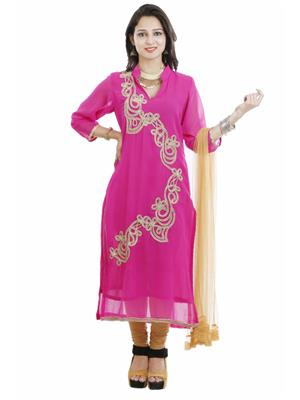 Vandy Crafts VCSUITS122035 Pink Women Dress Material