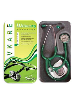 Vkare VKB0003 Pediatric Stainless Steel Stethoscope - Ultima PS Green