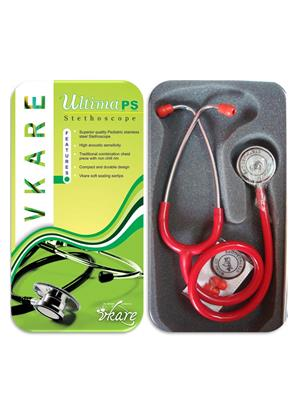 Vkare VKB0003 Pediatric Stainless Steel Stethoscope - Ultima PS Red