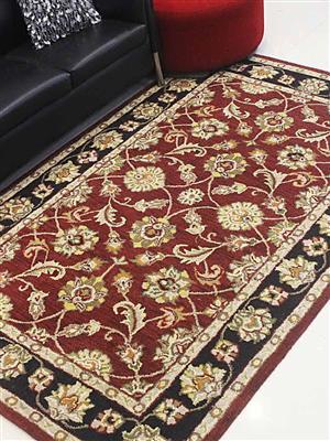 Royzez Handmade Woollen Rug Red Black K00114