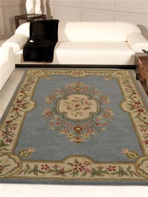 Royzez Handmade Woollen Rug Blue Beige K3005131