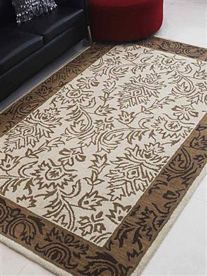 Royzez Handmade Woollen Rug Beige Brown K00526