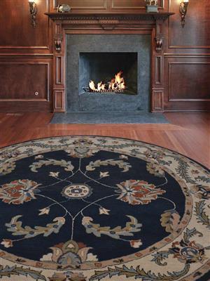 Royzez Handmade Woollen Round Rug Blue Beige K00626