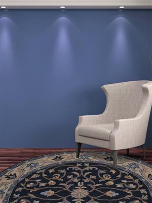 Royzez Handmade Woollen Round Rug Blue Beige K00629