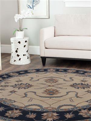 Royzez Handmade Woollen Round Rug White Blue K00631