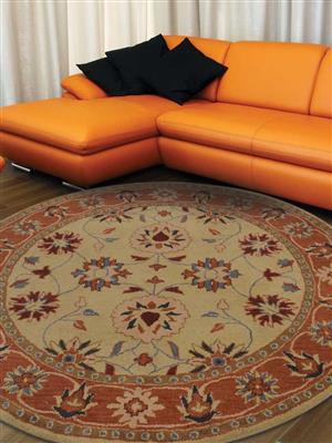 Royzez Handmade Woollen Round Rug Gold Rust K00643