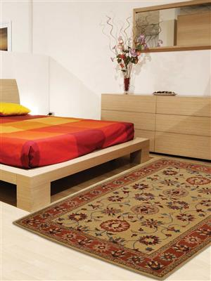 Royzez Handmade Woollen Rug Gold Rust K00643