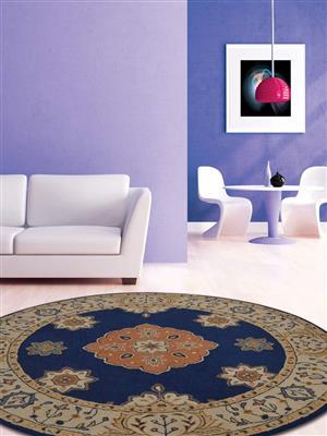 Royzez Handmade Woollen Round Rug Blue Beige K00644