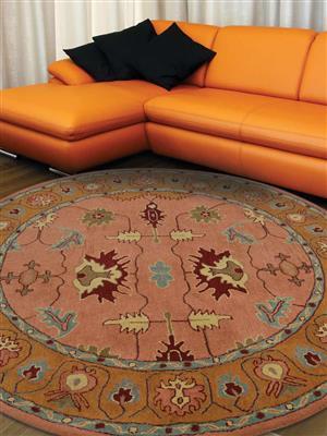 Royzez Handmade Woollen Round Rug Copper Gold K00646