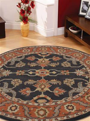 Royzez Handmade Woollen Round Rug Charcoal Rust K00649