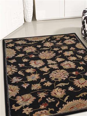 Royzez Handmade Woollen Rug Black K00653