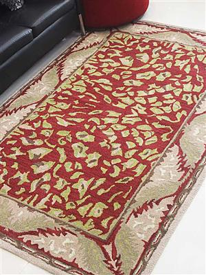 Royzez Handmade Woollen Rug Red Beige K00715