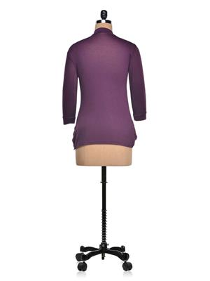 Vivomo VSHRPOKPUPL Fashoina Long Pocket Purple Women Shrug