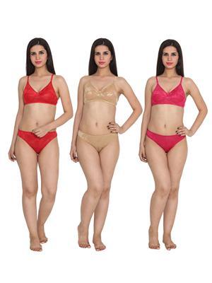 Ansh Fashion Wear Wb-St-Ruksana-120-B Red Women Bra Panty Set Of 3