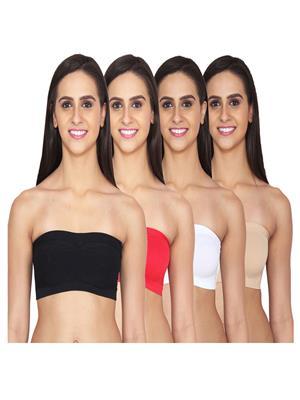 Aws Fashion WB-TUBE-BLK-RED-WHT-SNK Multicolored Women Sports Bra Set Of 4
