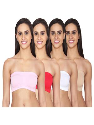 Aws Fashion WB-TUBE-PNK-RED-WHT-SKN Multicolored Women Sports Bra Set Of 4