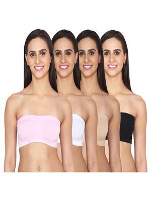Aws Fashion WB-TUBE-PNK-WHT-SKN-BLK Multicolored Women Sports Bra Set Of 4