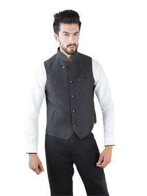 Jahanpanah WC044-07 Grey Men Waistcoats