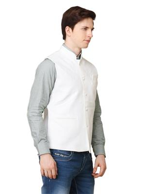 Apris WC102 White Men Nehru Jacket