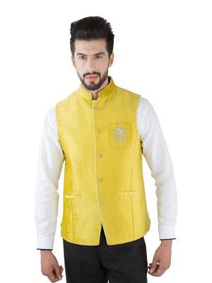 Jahanpanah WC150-08 Yellow Men Waistcoats