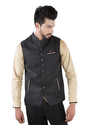 Jahanpanah WC215-02 Black Men Waistcoats