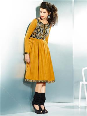 Eternal EX-K-107  Women Yellow Woolen Dress