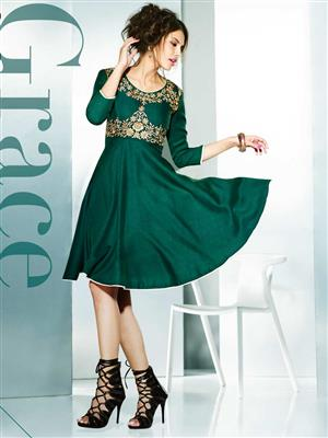 Eternal EX-K-109  Women Green Woolen Dress