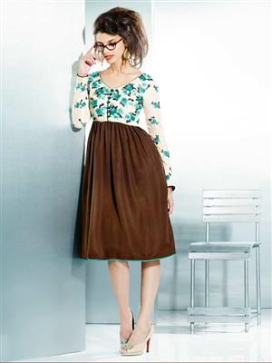 Eternal EX-K-110  Women Brown Woolen Dress