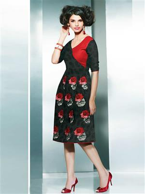 Eternal EX-K-111  Women Black Woolen Dress