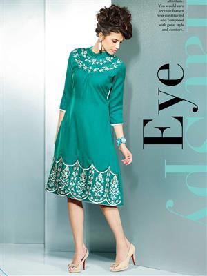 Eternal EX-K-113  Women Green Woolen Dress
