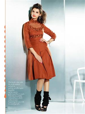 Eternal EX-K-114  Women Brown Woolen Dress