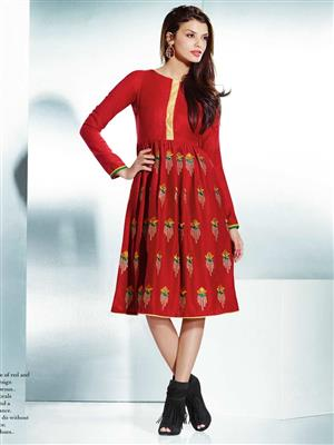Eternal EX-K-117  Women Red Woolen Dress