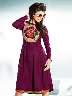 Eternal EX-K-121  Women Purple Woolen Dress