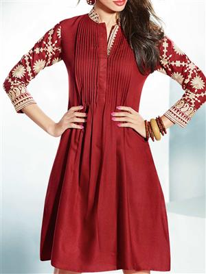 Eternal EX-K-125  Women Maroon Woolen Dress