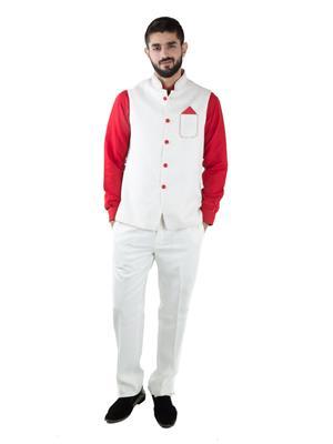 Jahanpanah WCS144-04 Red Men Waistcoat With Kurta And Pajama