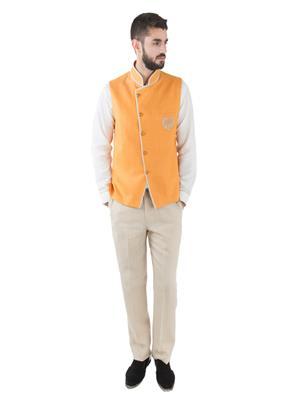 Jahanpanah WCS158-23 Orange Men Waistcoat With Kurta And Pajama